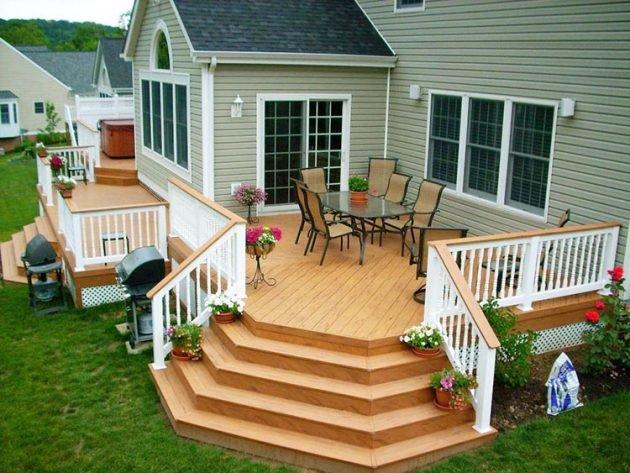 ხის ტერასები – ლამაზი და კომფორტული გაფორმება კერძო სახლისთვის.