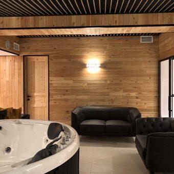 ლარიქსის (ლისტვინიცის) ლამფით შესრულებული შიდა კედელები და ლარიქსის პლანკენით მოწყობილი ღობე